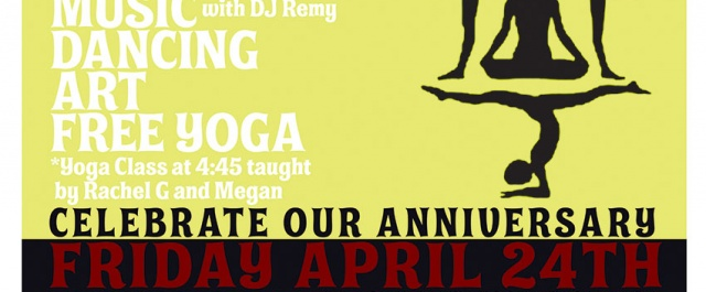 Double Anniversary Party On Friday April 24th for Body Alive Yoga and Exotic Eye Tattoo