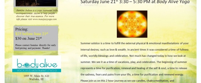 3rd Saturday Workshop: Summer Solstice: Alignment and Refinement on June 21st @3:30 pm